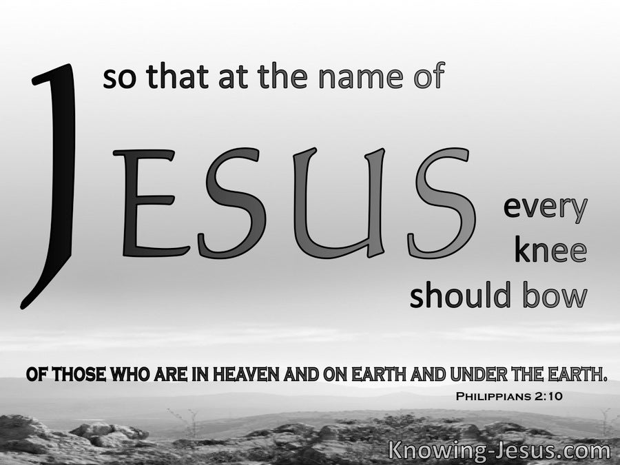 Philippians 2:10 At The Name of Jesus Every Knee Will Bow (gray)