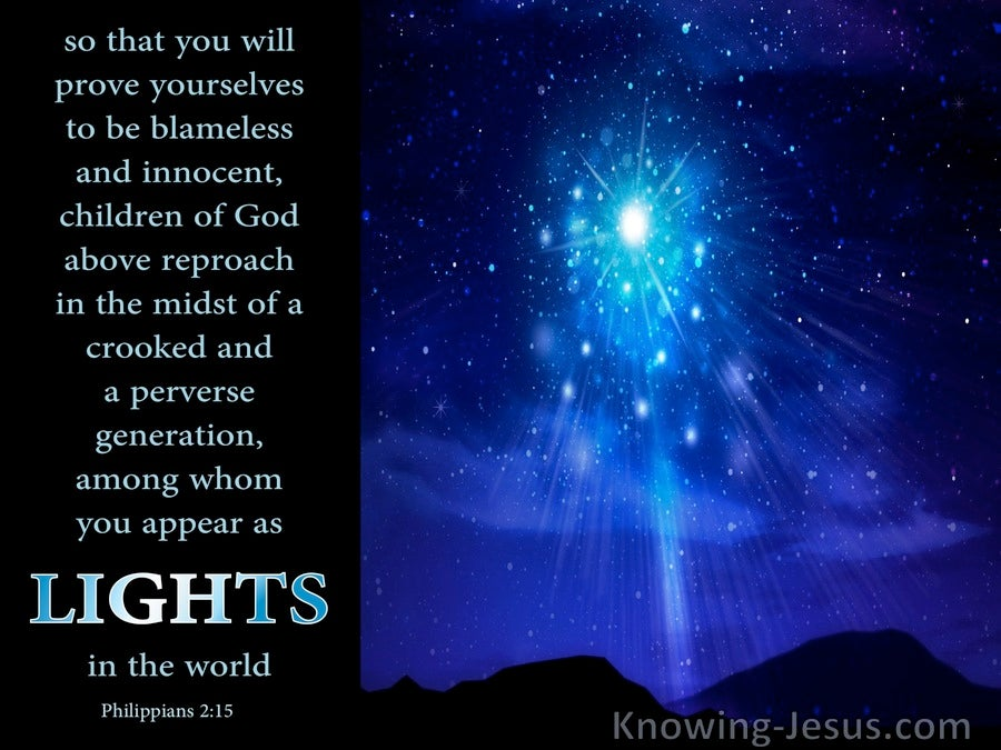 Philippians 2 15 Shine As Lights In The World Blue