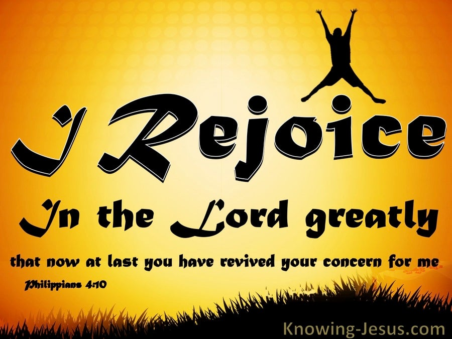 Philippians 4:10 Rejoice In The Lord (yellow)