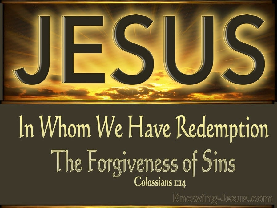 Colossians 1:14 In Whom We Have Redemption (brown
