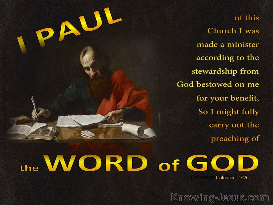 Colossians 1:25 Paul A Minister of the  Dispensation of Grace (gold)