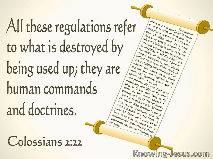Colossians 2:22 These Are Human Commands and Doctrines (beige)