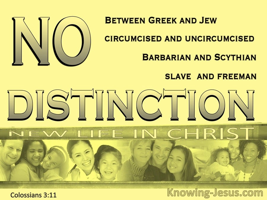 Colossians 3:11 No Distinction Between Jew And Greek (yellow)