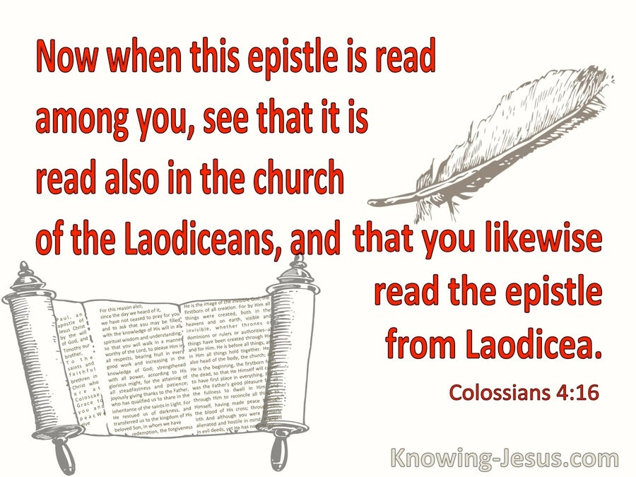 Colossians 4:16 Read This Epistle To The Church Of The Laodicans (red)
