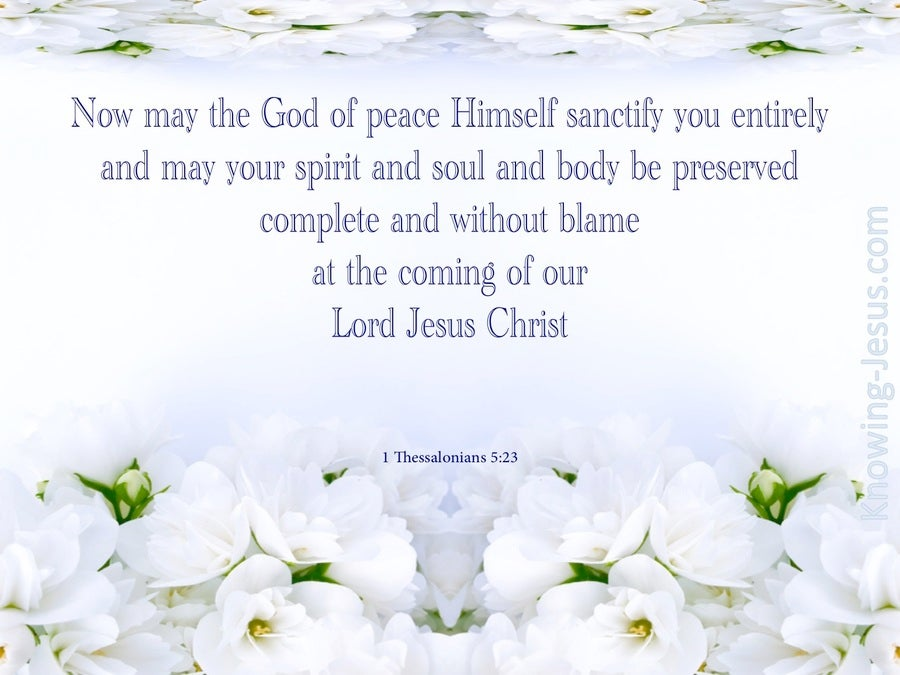 1 Thessalonians 5:23 The God Of Peace Sanctify You (gray)