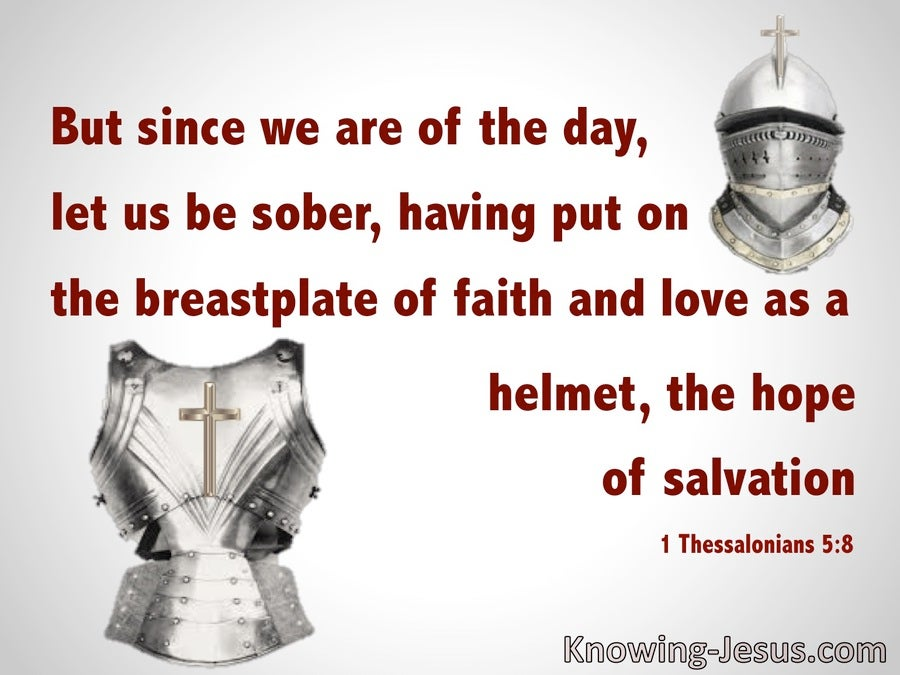 1 Thessalonians 5:8 Breast plate Of Lord And Helmet The Hope Of Salvation (red)