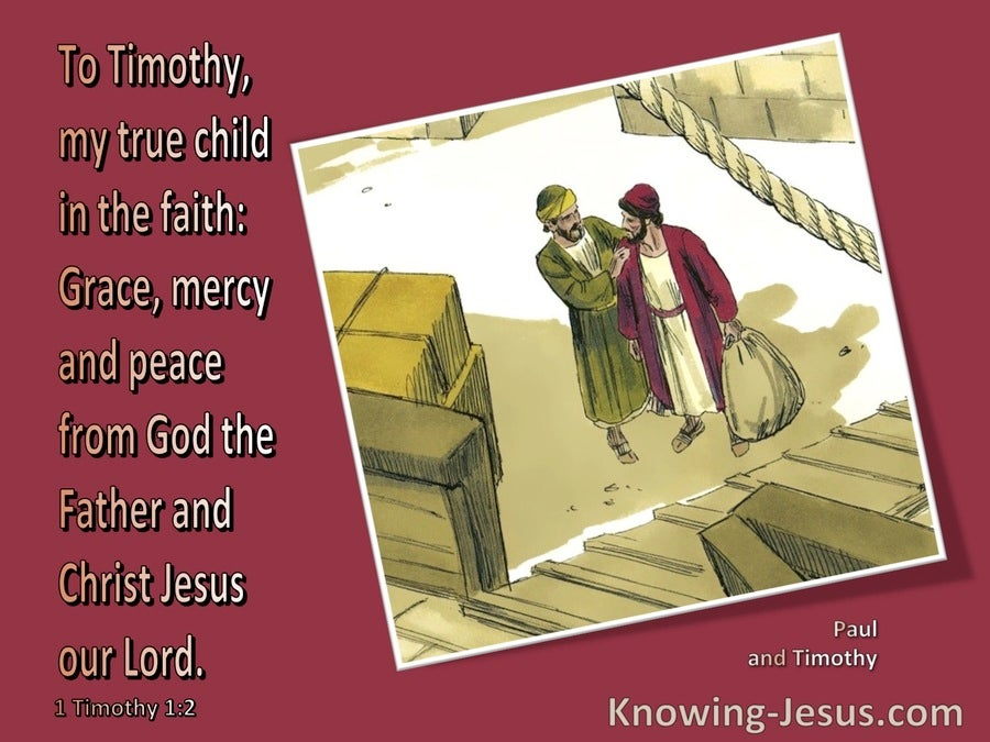 1 Timothy 1:2 To Timothy My True Child In The Faith (red)