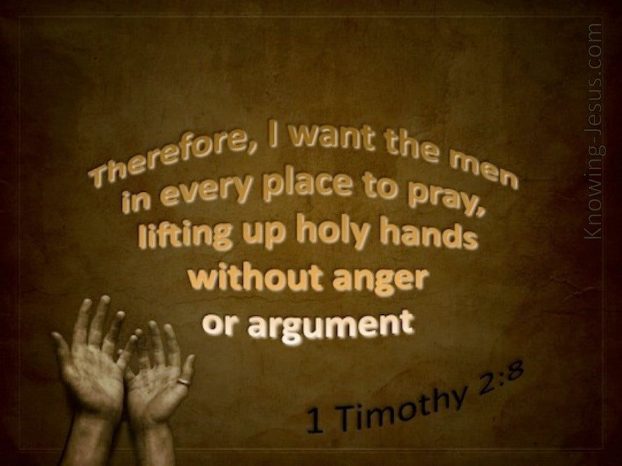 1 Timothy 2:8 Lift Up Holy Hands (brown)