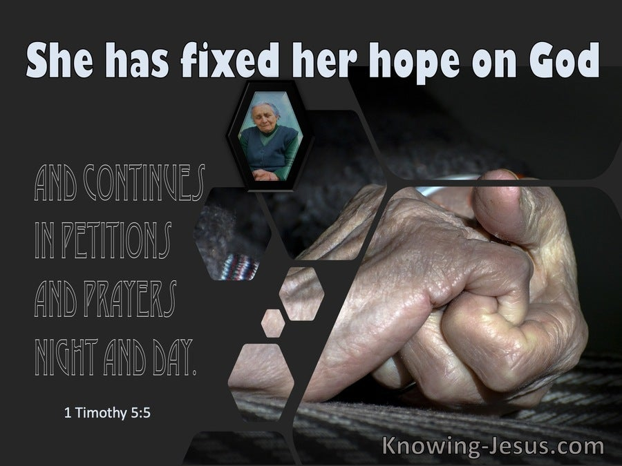 1 Timothy 5:5 She Who Is A Widow Indeed (blue)