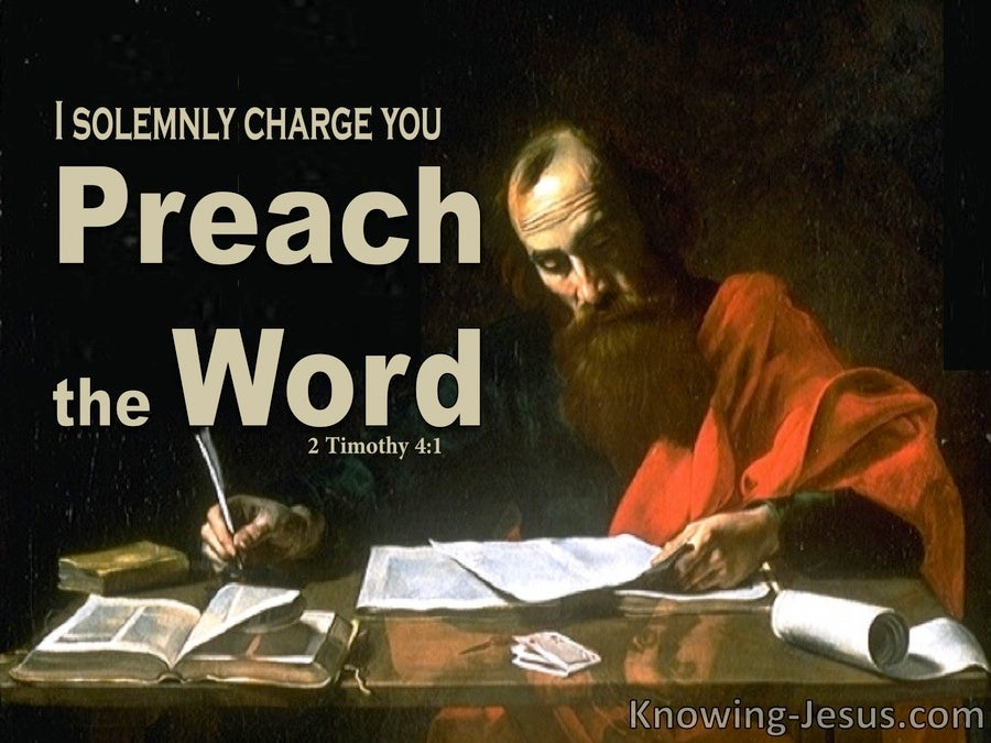 2 Timothy 4:1 Preach the Word (beige)