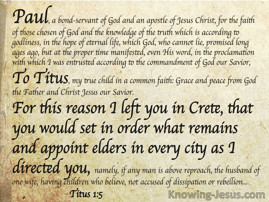 Titus 1:5 Left In Crete To Appoint Elders (beige)