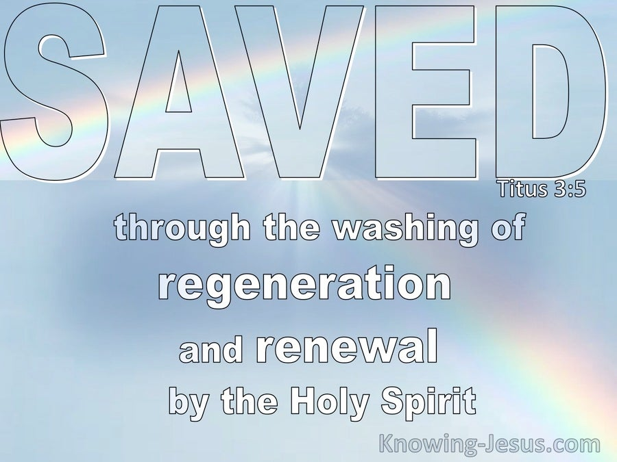 Titus 3:5 The Washing Of Regeneration And Renewal (blue)