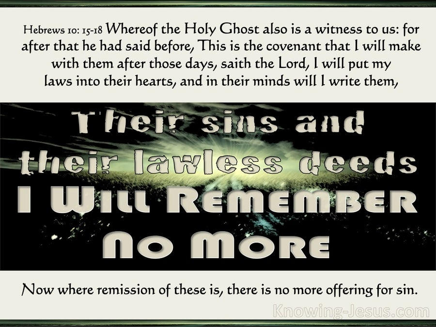 Hebrews 10:17 Their Sins I Will Remember No More (beige)