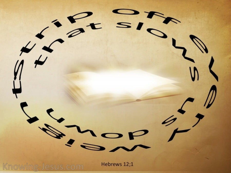 Hebrews 12:2 Strip Off All That Hinders (beige)