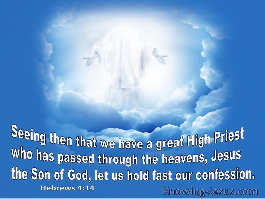 Hebrews 4:14 Seeing His Is Great Hight Priest Let Us Hold Fast Our Confession (blue)