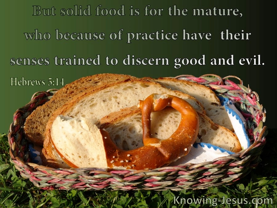 Hebrews 5:14 Food Is For The Mature To Discern Good And Evil (green)