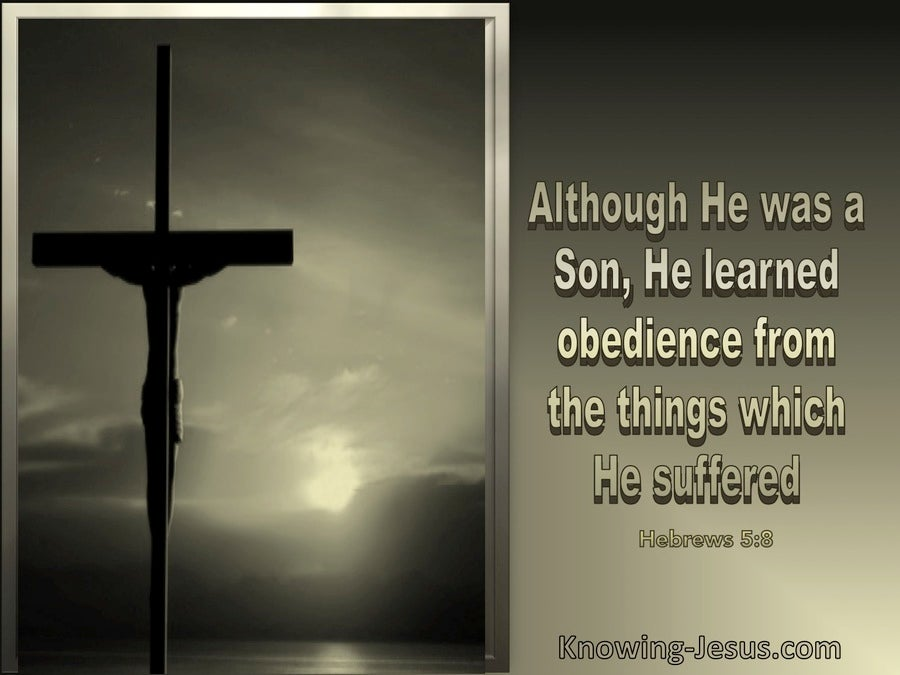 Hebrews 5:8 Jesus Learned Obedience Thru Suffering (beige)