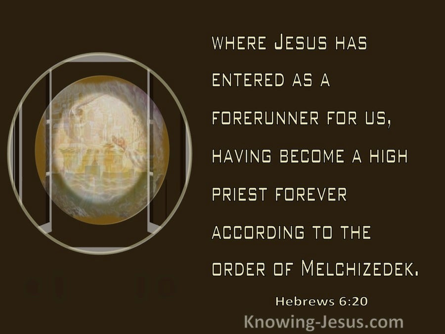 Hebrews 6:20 He Entered As A Forerunner And High Priest (brown)