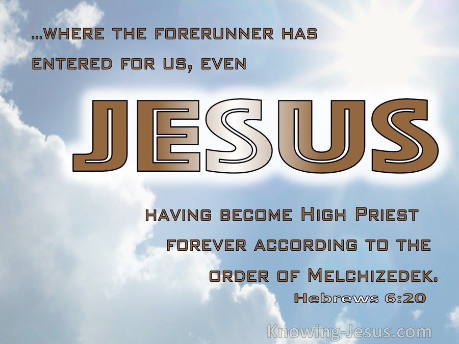 Hebrews 6:20 Jesus Having Become High PRiest Forever After The Order Of Melchizedek (brown)
