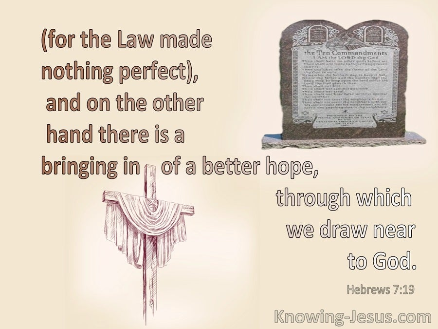 Hebrews 7:19 The Law Made Nothing Perfect (cream)
