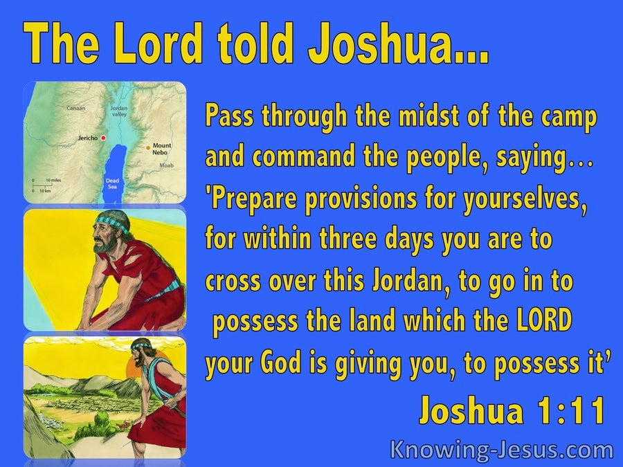 Joshua 1:11 Cross Jordan And Possess The Land (blue)