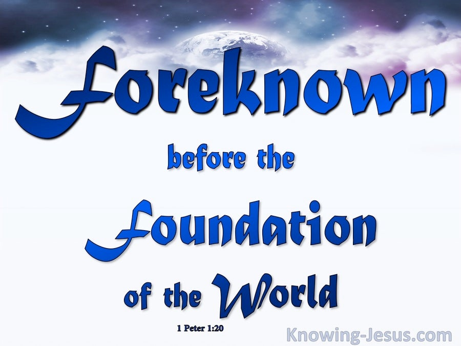 1 Peter 1:20 Foreknown Before The Foundation Of The World (blue)