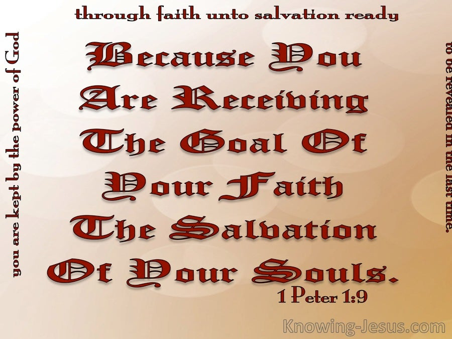 1 Peter 1:9 The Goal Of You Faith (red)