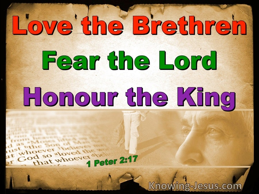 1 Peter 2:17  Honour All, Love The Brotherhood, Fear God, Honour The King (brown)
