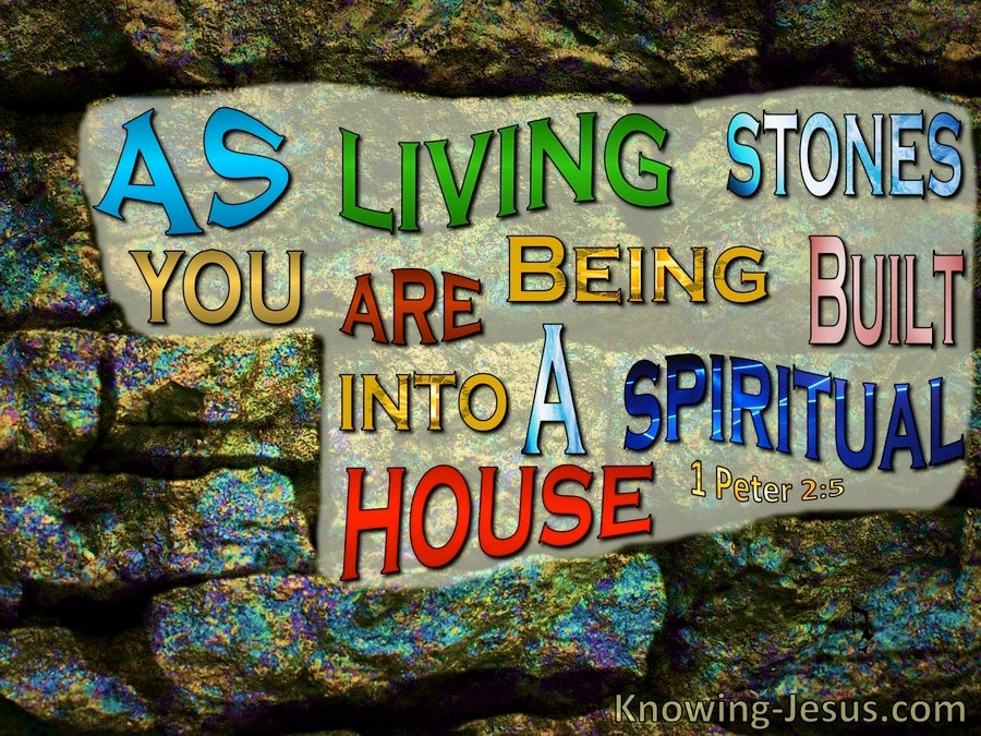1 Peter 2:5 Living Stones : A Spiritual House (black)