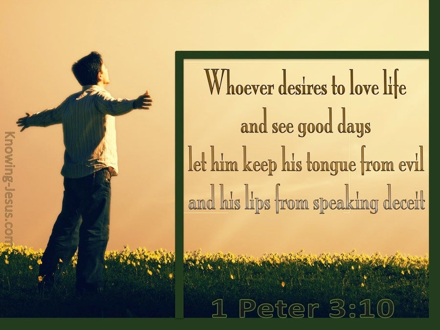 1 Peter 3:10 Keep From Speaking Evil (green)