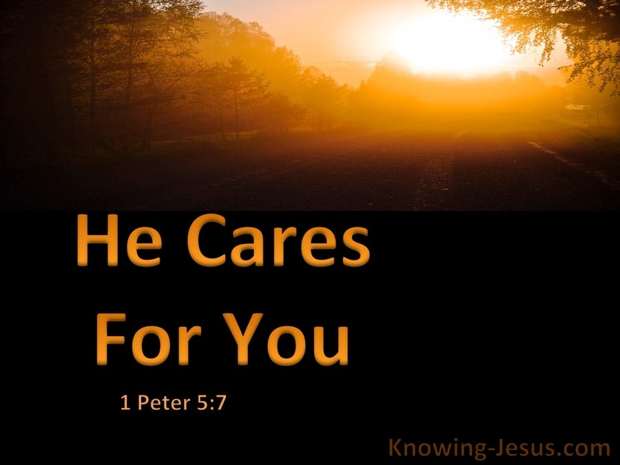 1 Peter 5:7 Cast All Your Cares On Him For He Cares For You (orange)