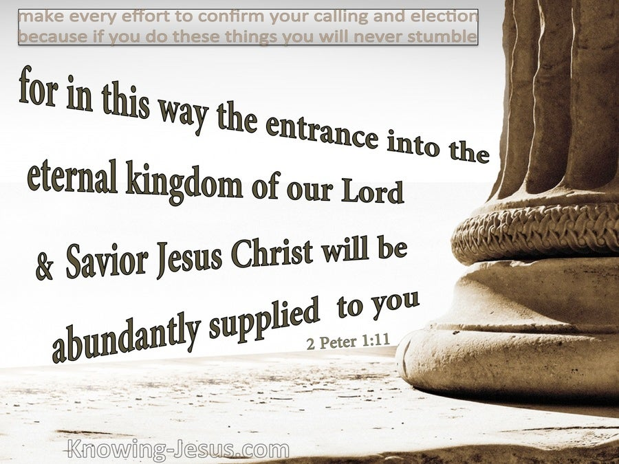 2 Peter 1:11 The Eternal Kingdom Abundantly Supplied (beige)