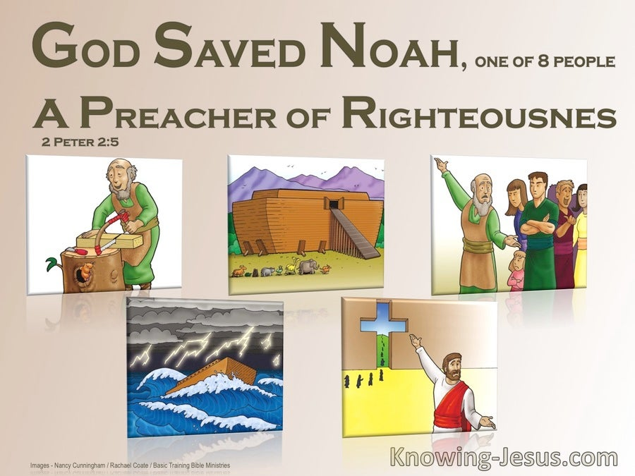 2 Peter 2:5 Did Saved Noah A Preacher Of Righteousness (beige)