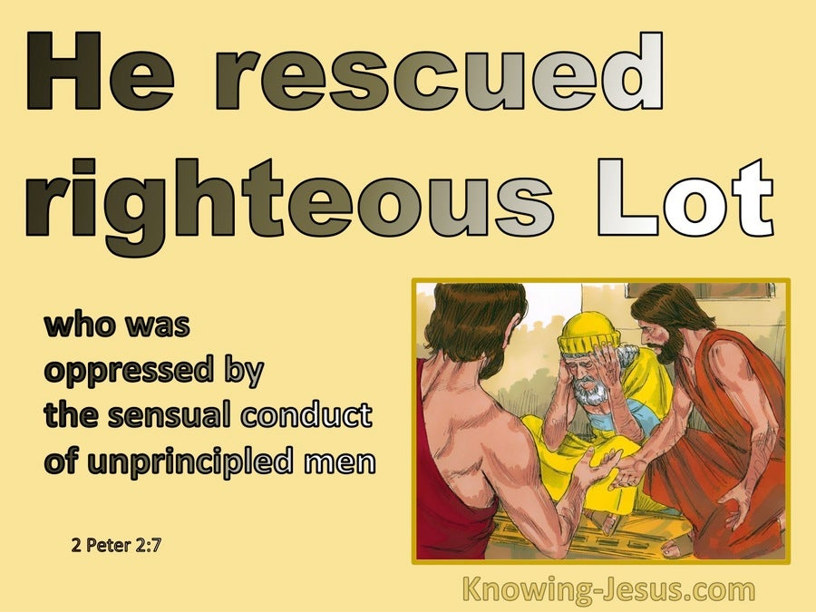 2 Peter 2:7 He Rescued Righteous Lot bible (yellow)