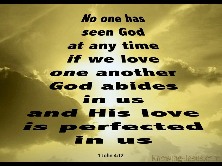 1 John 2:12 No On Has Seen God (gold)