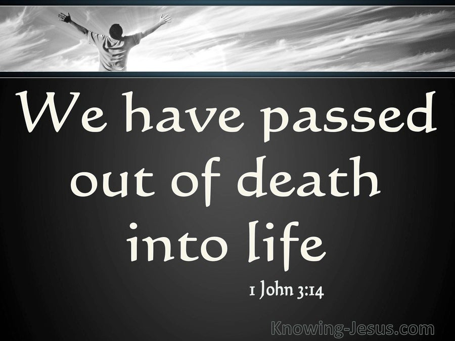 1 John 3:14 He Who Does Not Love Abides In Death (white)