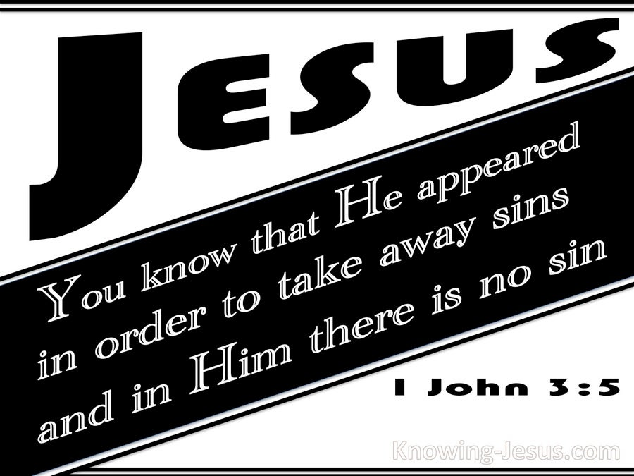 1 John 3:5 He Appeared To Take Away Sins (black)