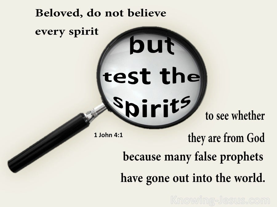 1 John 4:1 Test The Spirits (beige)