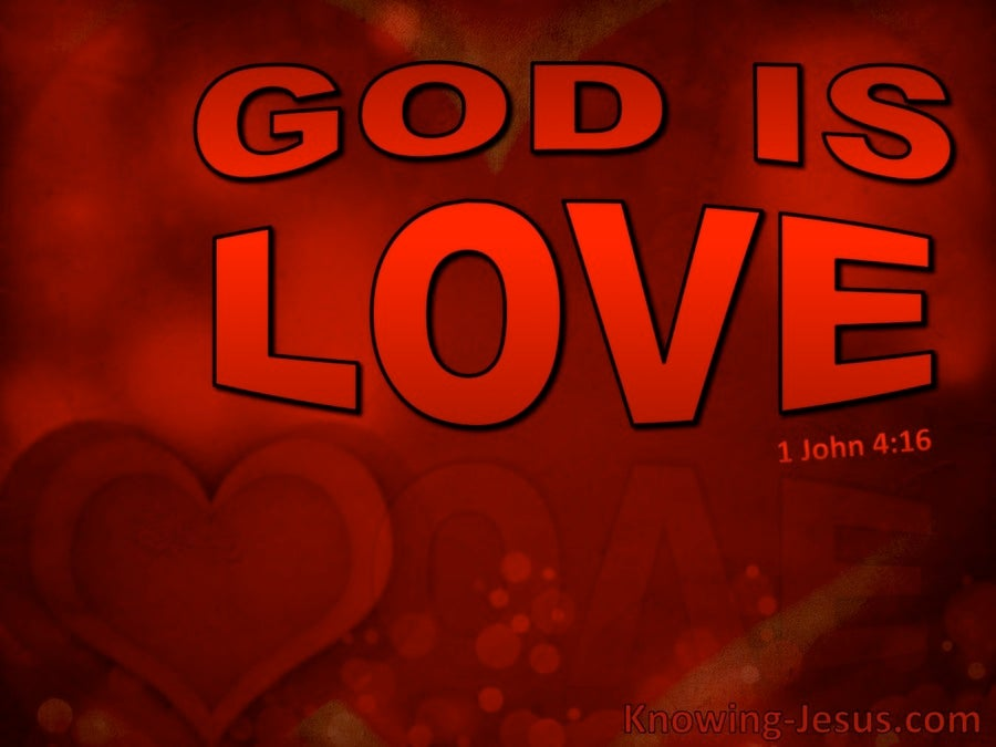 1 John 4:16 God Is Love (red)