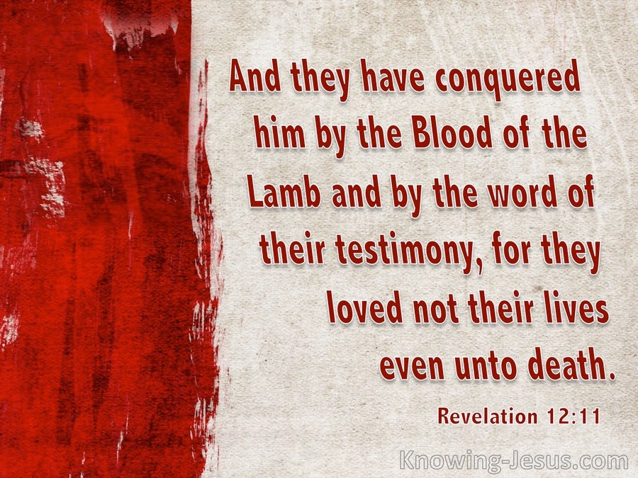 Revelation 12:11 They Conquered By The Blood Of The Lamb (beige)