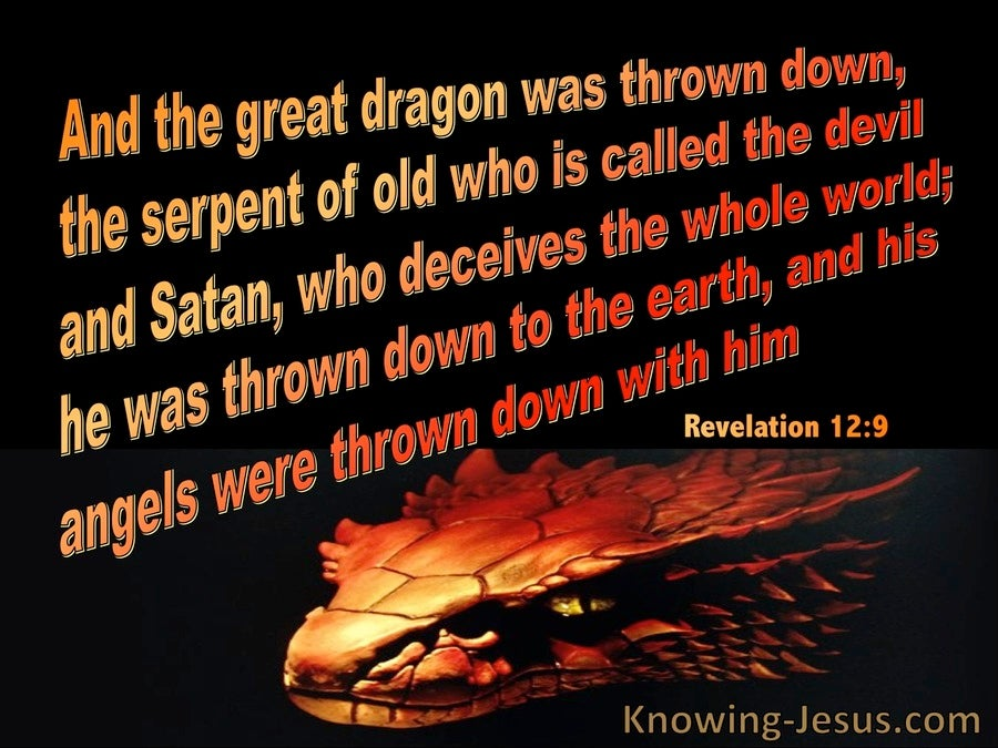 Revelation 12:9 The Great Dragon Called The Devil And Satan (black)