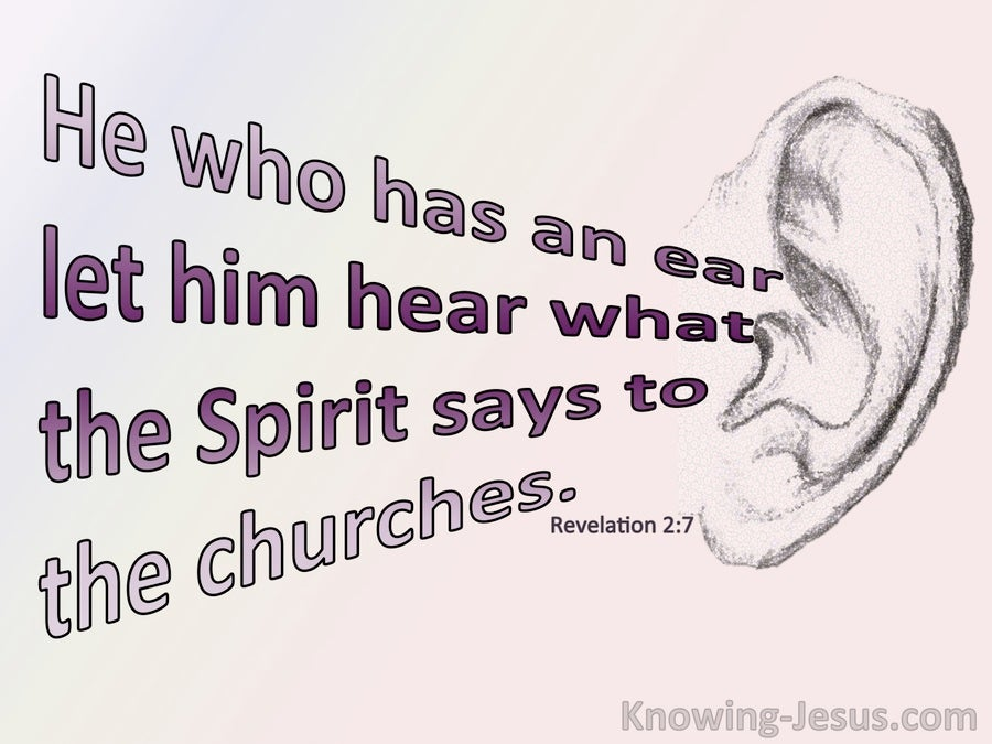 Revelation 2:7 He Who Has An Ear Let Him Hear (pink)