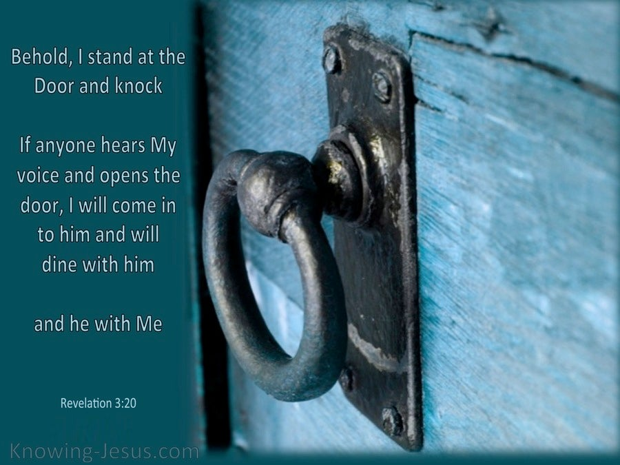 Revelation 3 20 Behold I Stand At The Door And Knock Aqua