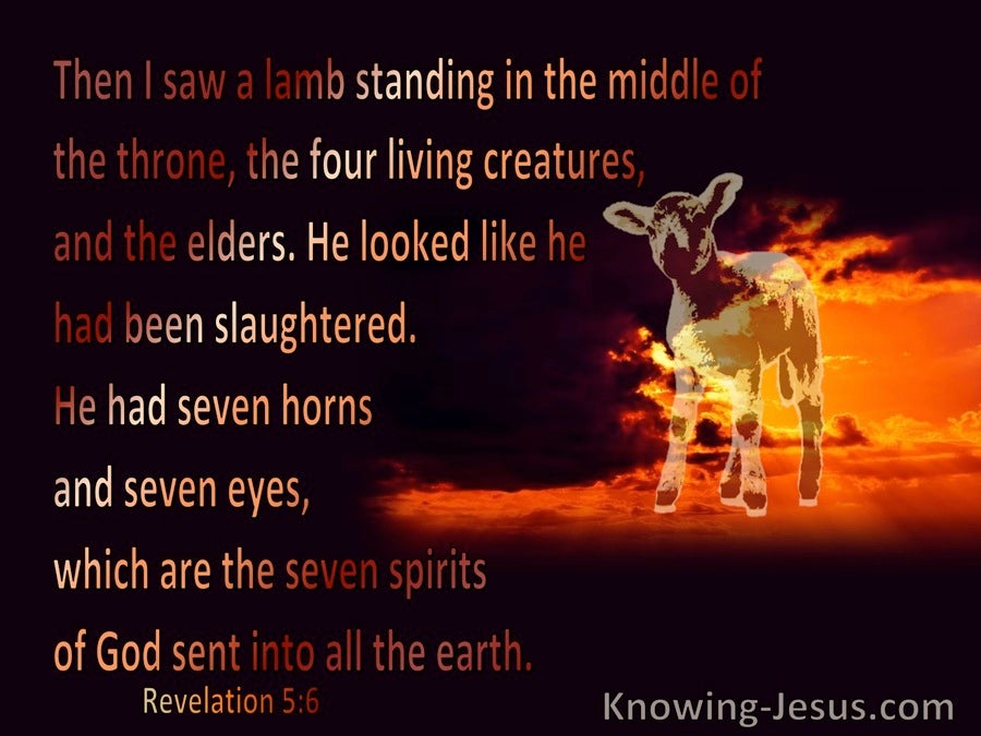 Revelation 5:6 Then I saw a Lamb (black)