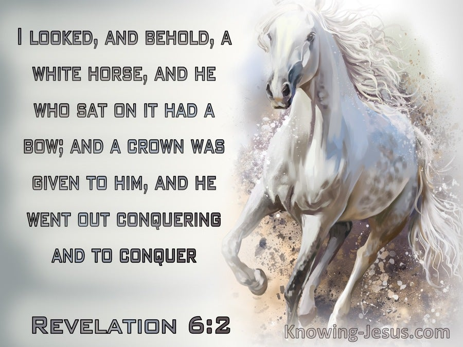 Revelation 6:2 He Went Our Conquering And To Conquer (gray)
