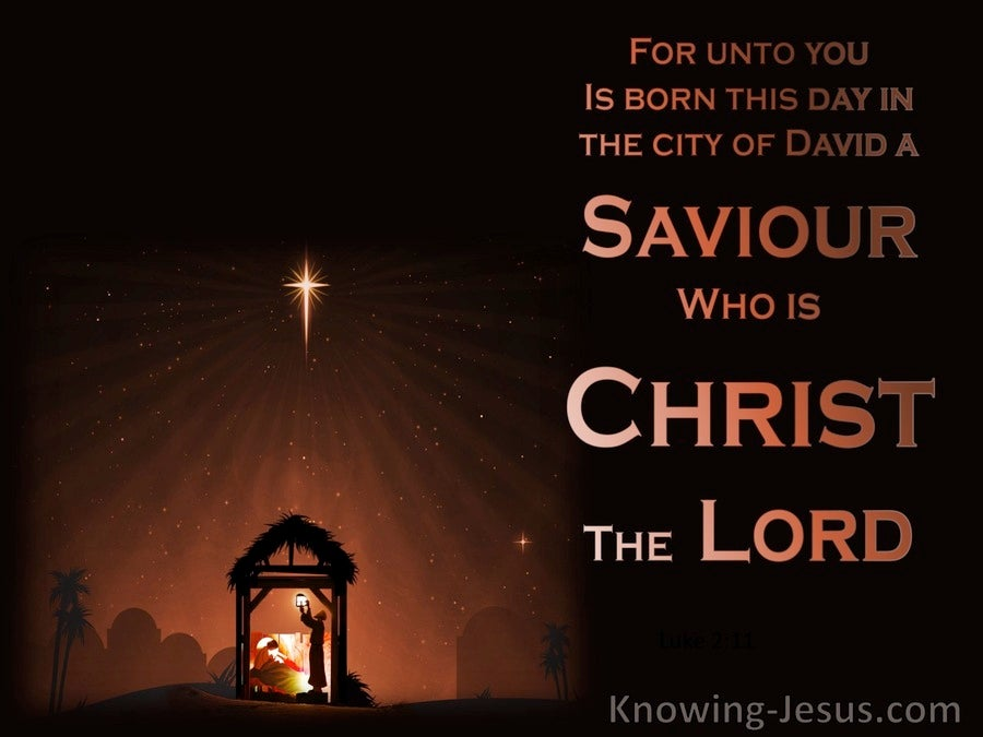 Luke 2:11 Unto You Is Born A Saviour (brown)