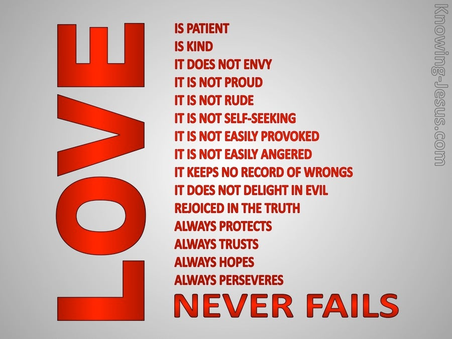 1 Corinthians 13:8 Love Never Fails (red)
