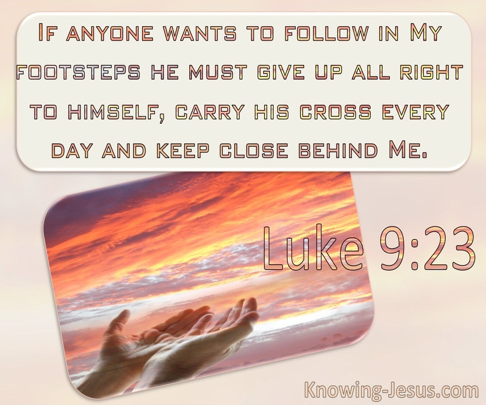 Luke 9:23 He Must Die To Self And Take Up His Cross And Follow Me (windows)11:28