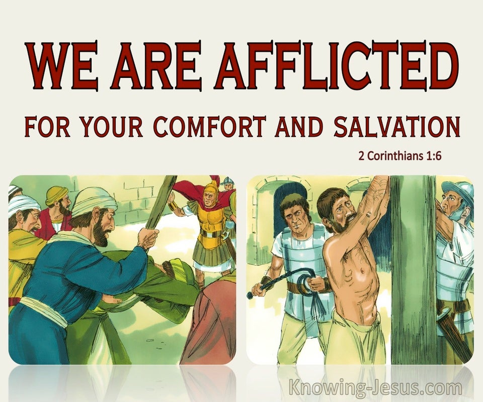 2 Corinthians 1:6 Afflicted For Your Comfort And Salvation (beige)