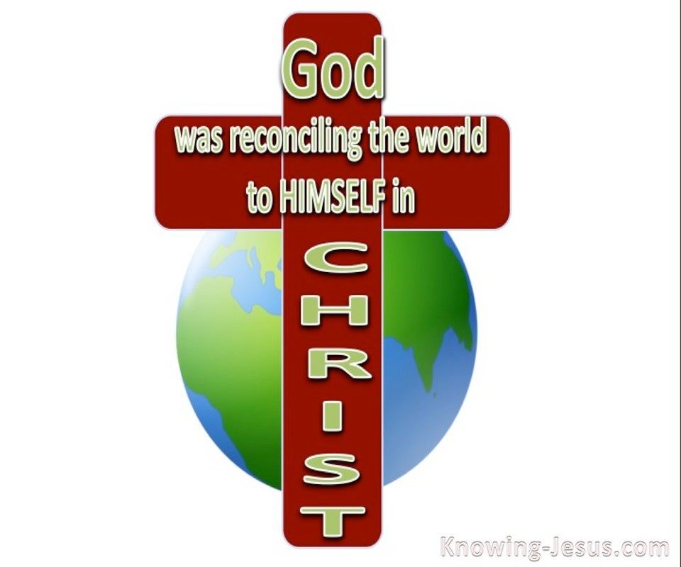 2 Corinthians 5:19 God Reconciling The World To Himself (red)